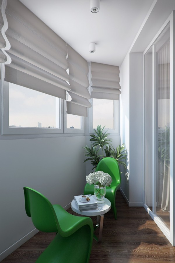 Green chairs in bedroom