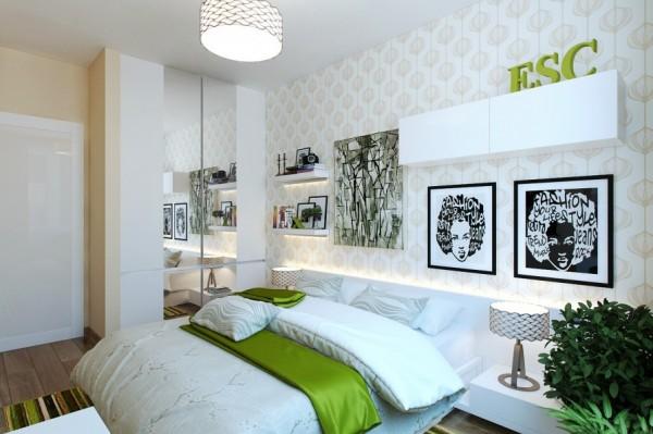 Green white modern bedroom