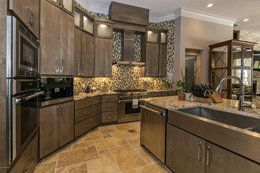 Delectable White Kitchen Cabinets Slate Floor Gallery Kitchen With Beige Granite Counters Travertine Tile Floor And Rich