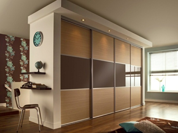 Fitted wardrobe with sliding doors solid wood shelves