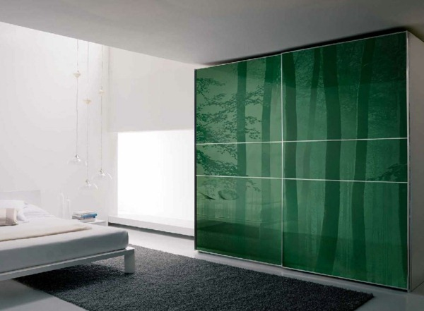 Wardrobe with sliding doors modern green natural way
