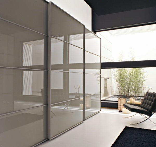 Wardrobe with sliding doors shiny frosted glass bedroom