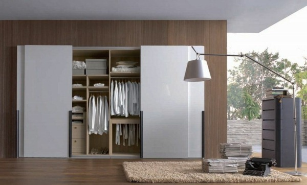 Wardrobe with sliding floor lamp hanger soft carpet