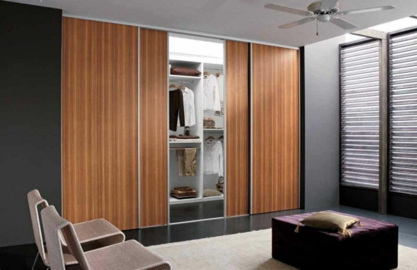 installed sliding doors bedroom wardrobe wood metal easily
