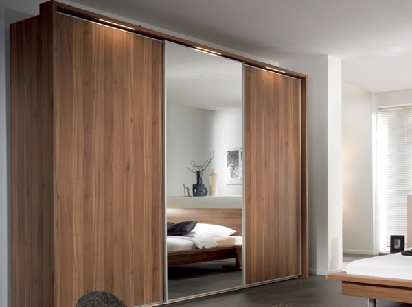 fitted wardrobe solid wood mirror sliding door