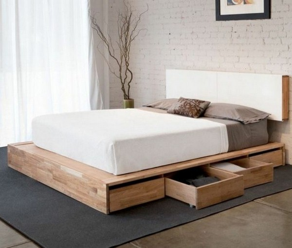 platform bed with storage drawers for storing clothes and resized