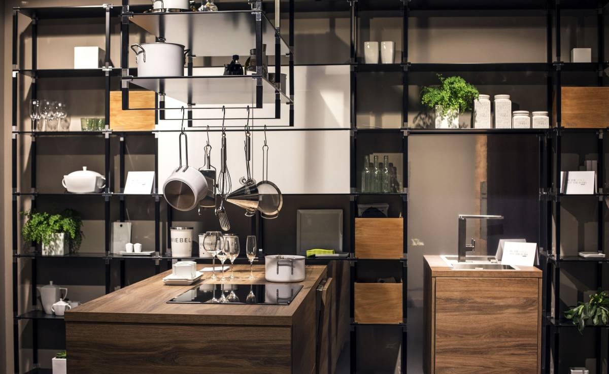 Modern industrial style kitchen shelving with multifunctional island