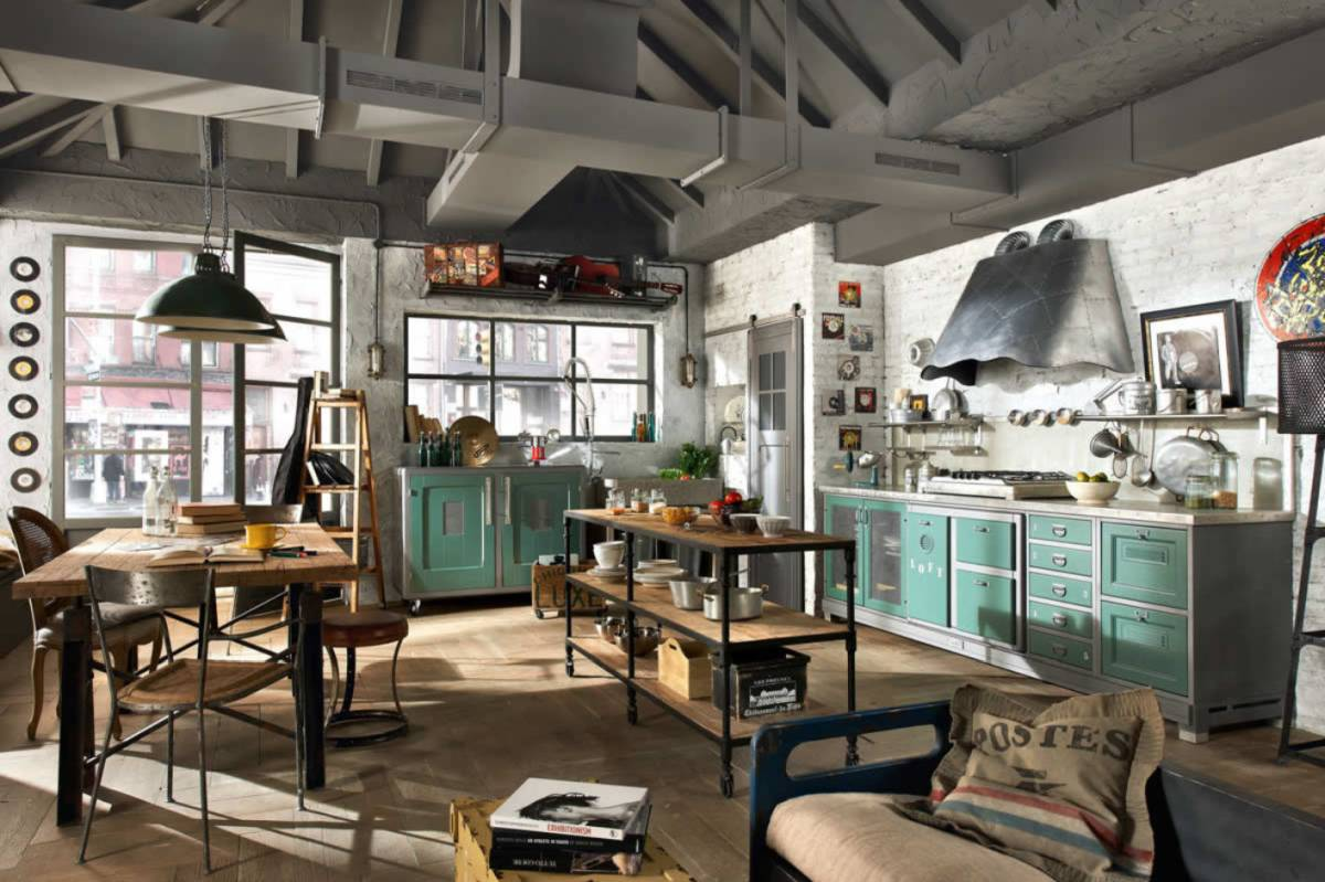 Art styled industrial chic kitchen decor