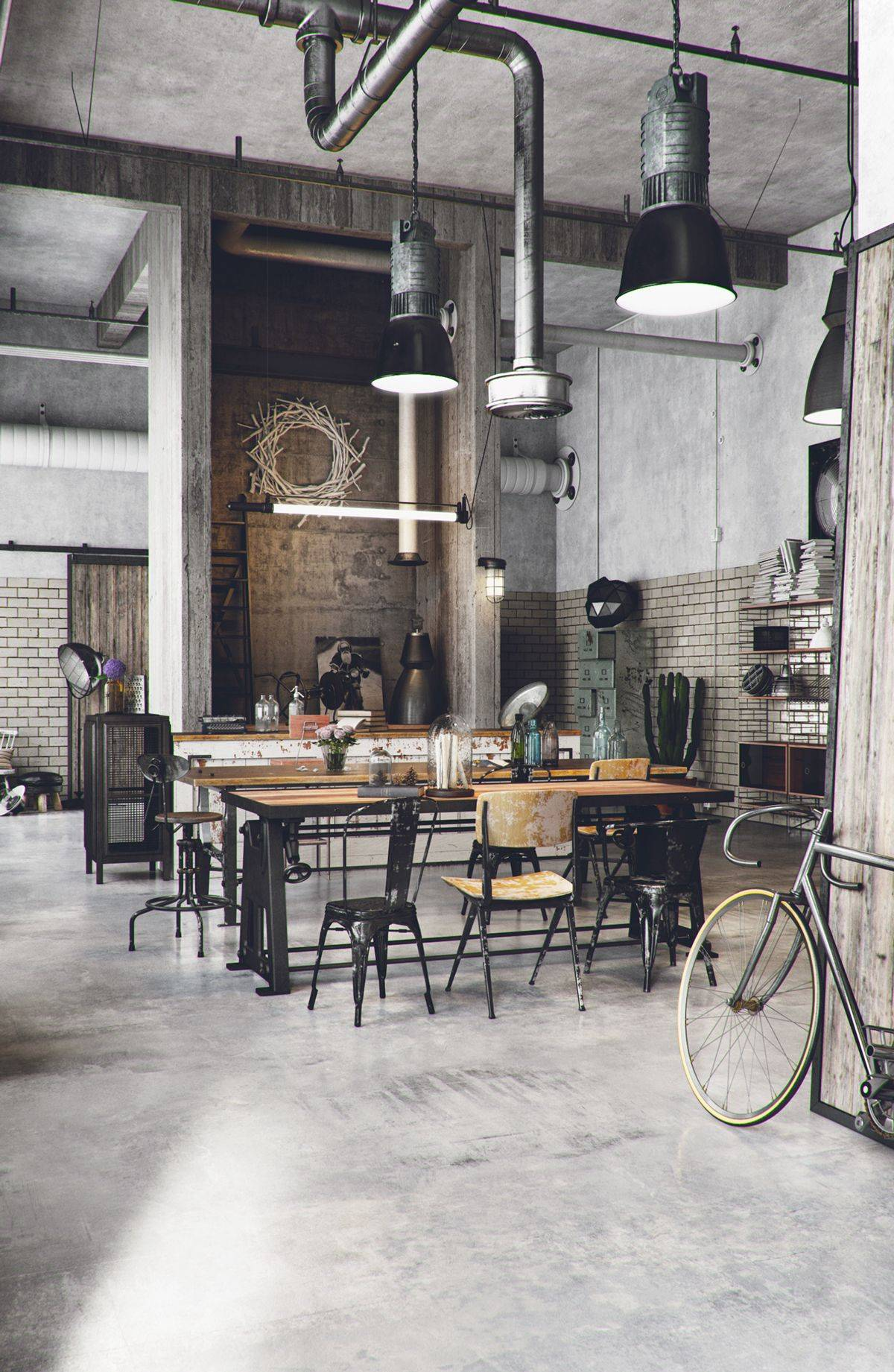 Great industrial kitchen decor with bold and brick walls and big dining space