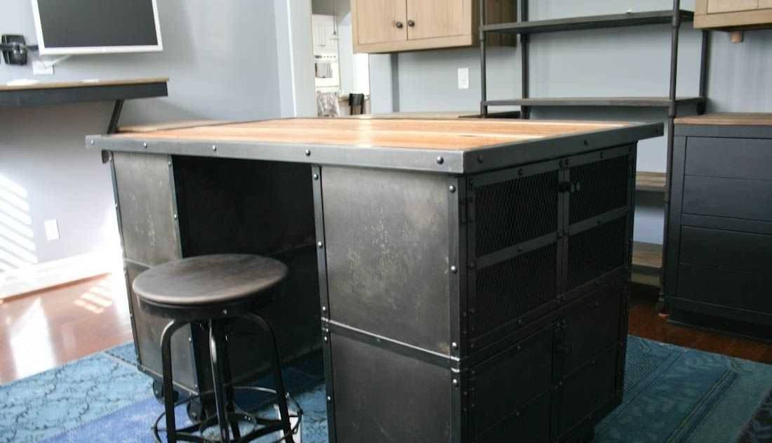 Simple industrial metal kitchen island
