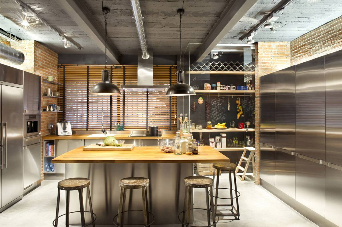 industrial style kitchen ceiling