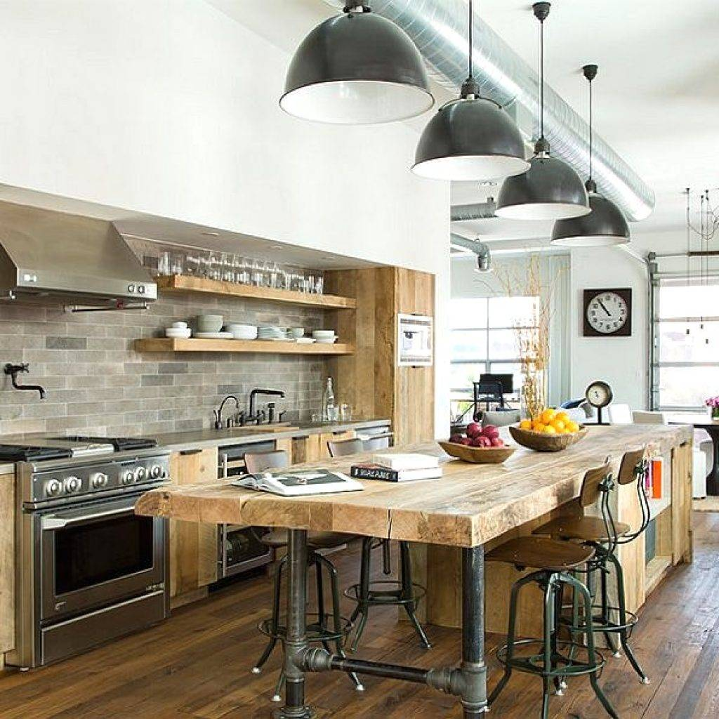 Great industrial style kitchen island with pipes as table legs, rustic island and free standing open shelves