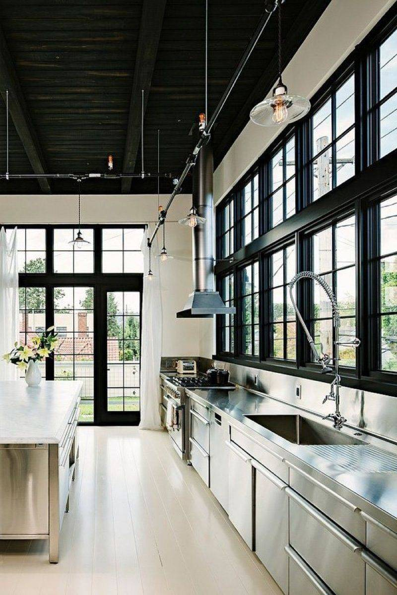 Simple one example of industrial style loft kitchen ideas for loft design