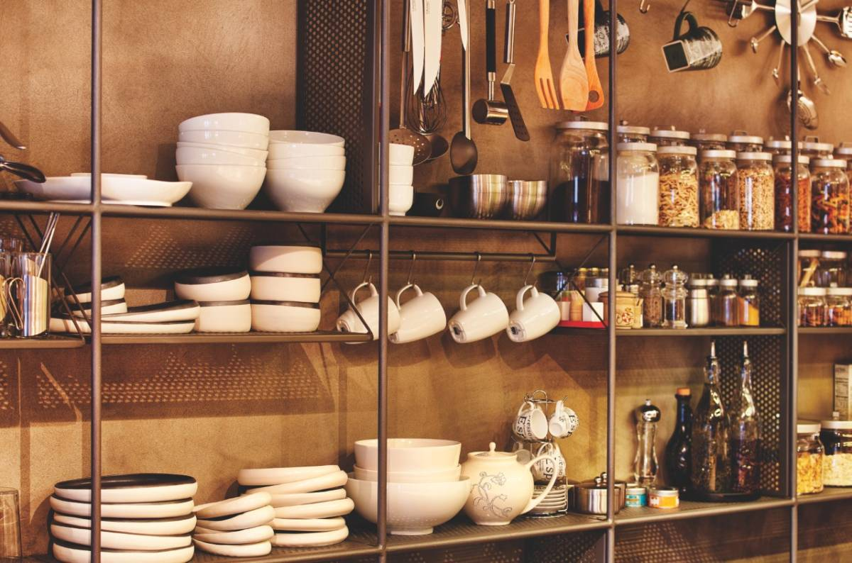 Metal loft kitchen storage as an element of functional decor