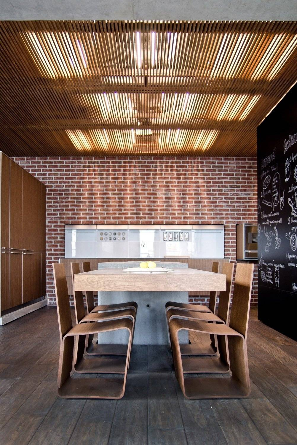 loft kitchen wall decor - brick wall tiles