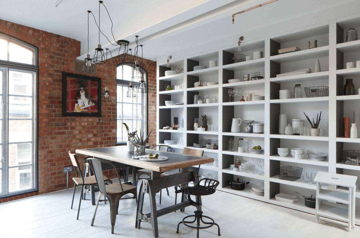 Great loft open shelving for kitchen with dining area