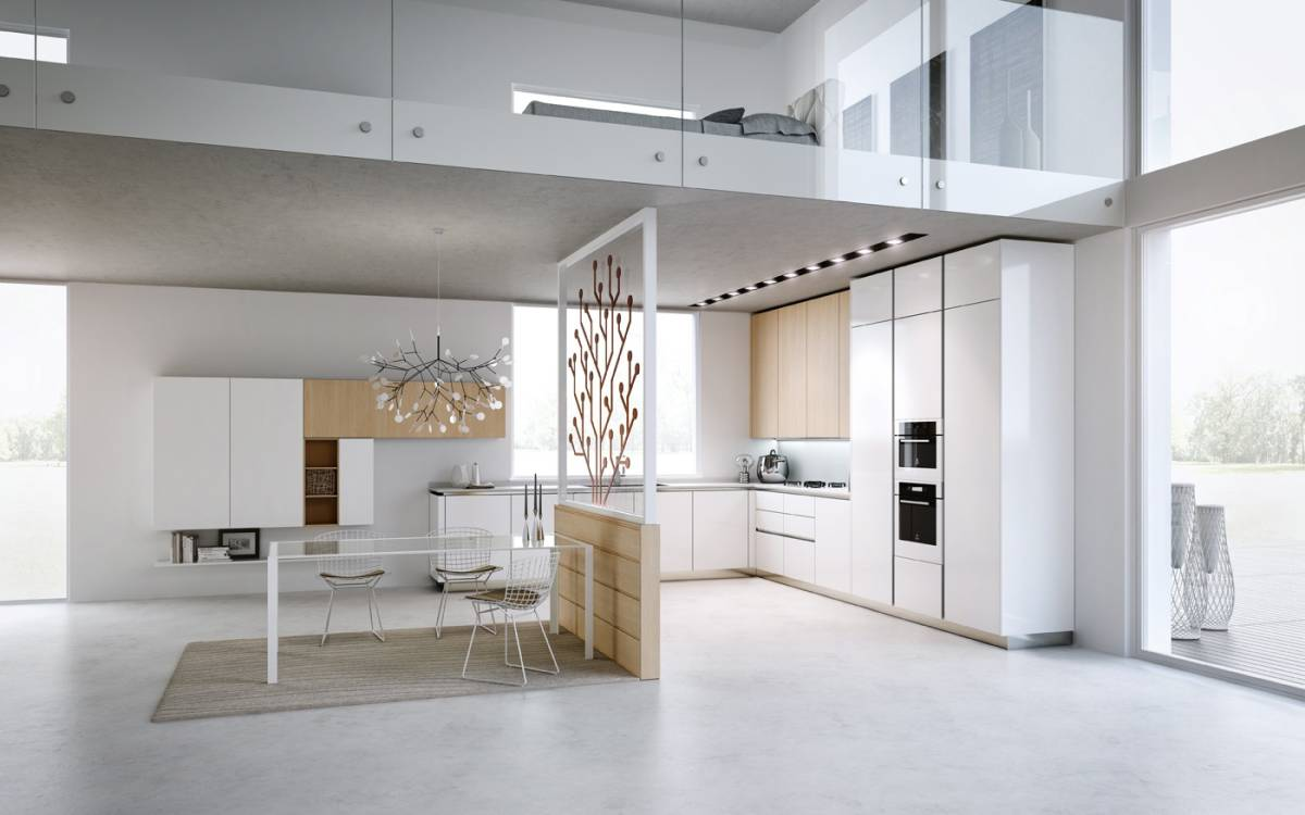 Amazing modern loft kitchen design for big space and bedroom over the kitchen