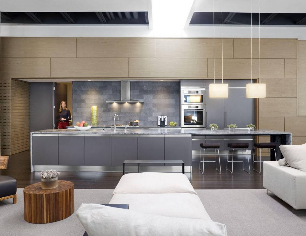 Beautiful modern loft kitchen with lights, gray-and-white furniture and big island