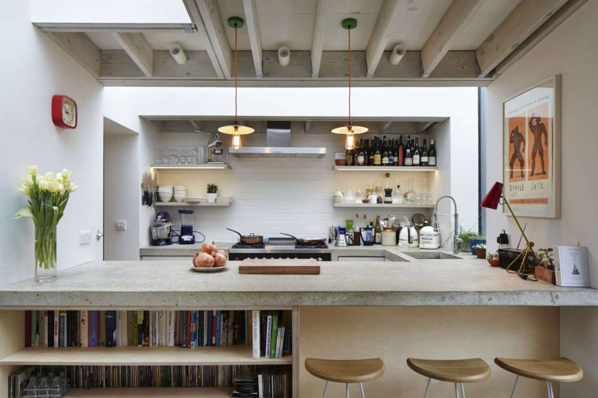 Modern style loft kitchen with library, big work space and open shelves