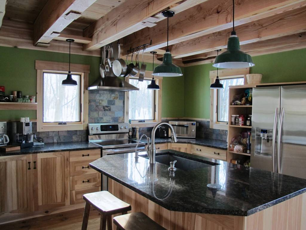 rustic farmhouse kitchen lighting with ceiling lights and island