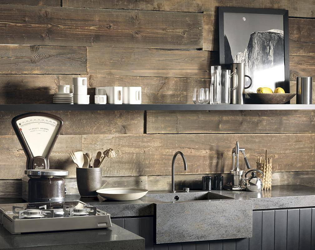 Great rustic loft kitchen with wooden wall decor, big open shelf and marble worktop