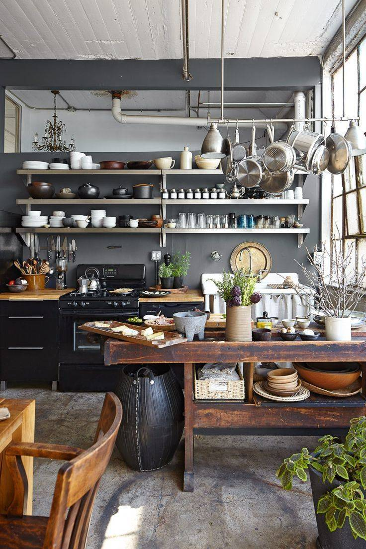 Beautiful rustic loft kitchen with farmhouse elements